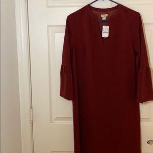Flutter sleeve burgundy dress Jcrew 00